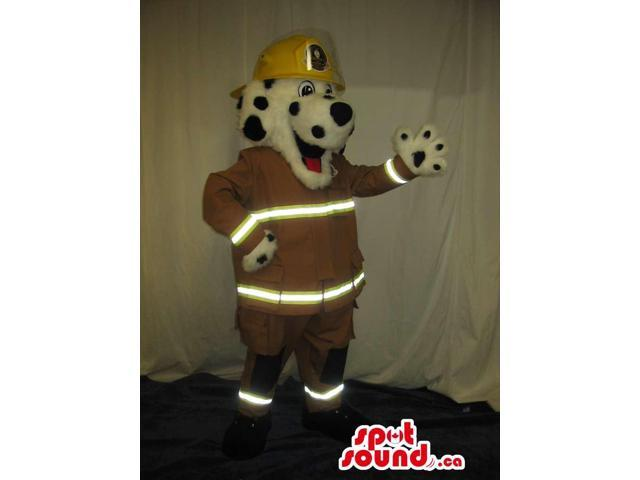Customised White Dog Plush Canadian SpotSound Mascot In A Helmet And Vest