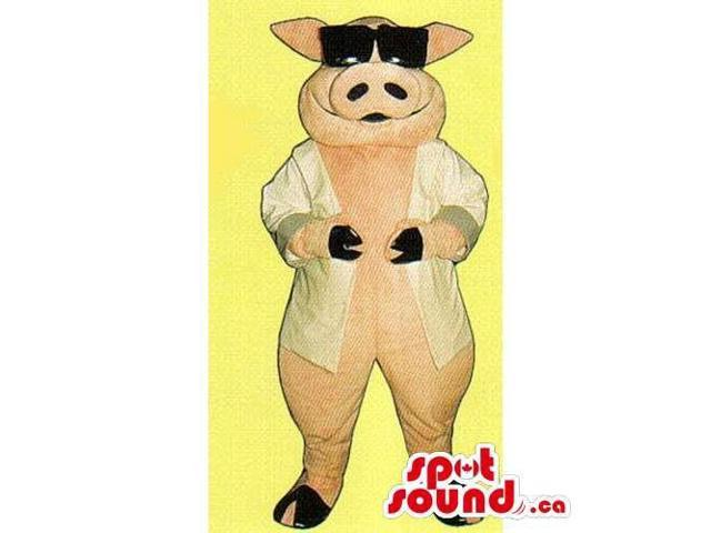 Customised Pig Canadian SpotSound Mascot Dressed In A Jacket And Sunglasses