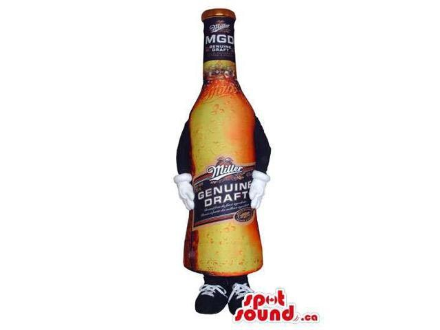 Beer Bottle Real-Looking Canadian SpotSound Mascot With Brand Name And No Face