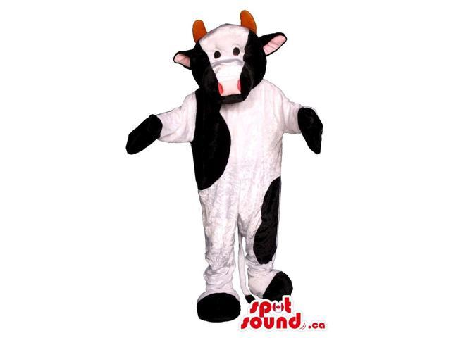 White And Black Customised Cow Plush Animal Canadian SpotSound Mascot