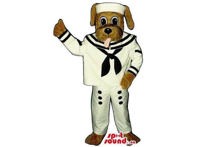 Customised Brown Dog Plush Canadian SpotSound Mascot Dressed In Sailor Gear