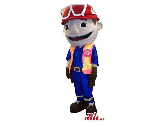 Customised Boy Plush Canadian SpotSound Mascot In A Helmet And Vest With Logo