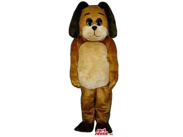 Customised Cute Brown Dog Plush Canadian SpotSound Mascot With A Beige Belly