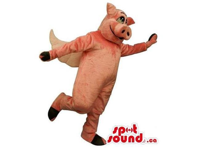 Customised All Pig Animal Fairy-Tale Canadian SpotSound Mascot With Wings