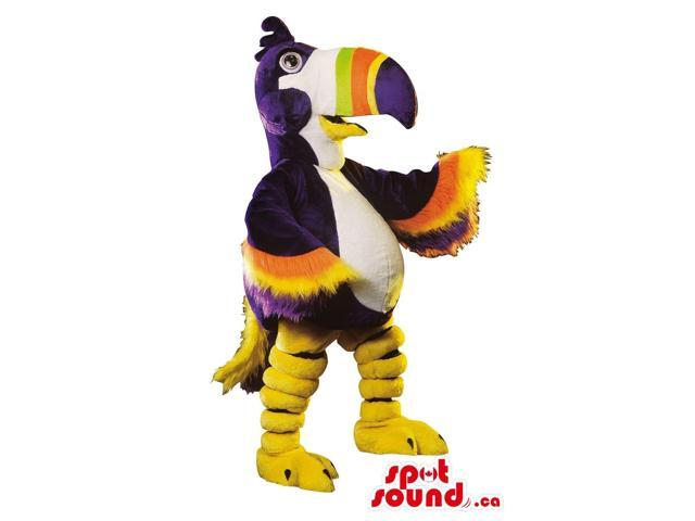 Purple Pelican Bird Plush Canadian SpotSound Mascot With A Colourful Beak And Wings