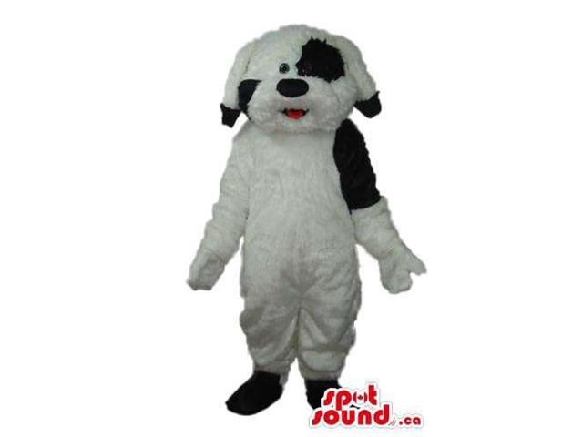 Lovely And Soft White Dog Pet Plush Canadian SpotSound Mascot With Black Spots