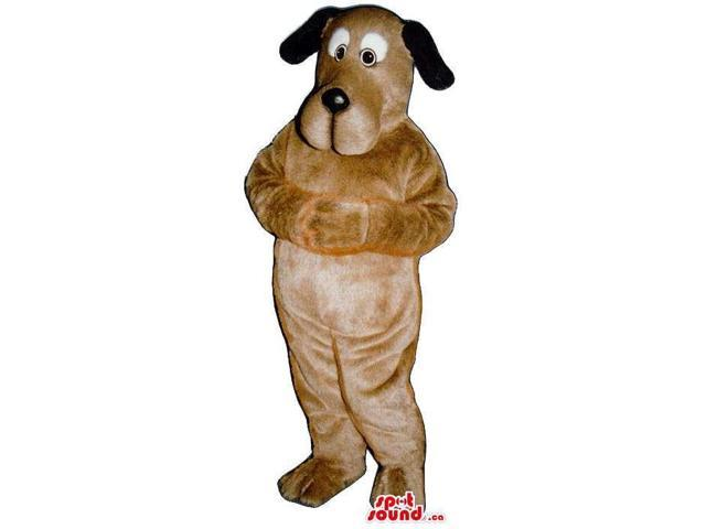 Cute Brown Dog Plush Canadian SpotSound Mascot With Black Ears And White Eye Circles