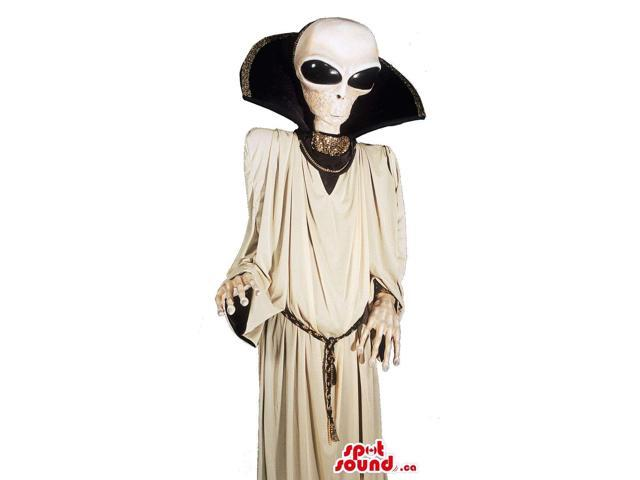 Real-Looking White Alien Character Canadian SpotSound Mascot Or Costume With A Dress