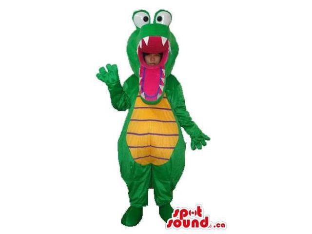 Green Crocodile Canadian SpotSound Mascot Or Disguise With Popping Eyes