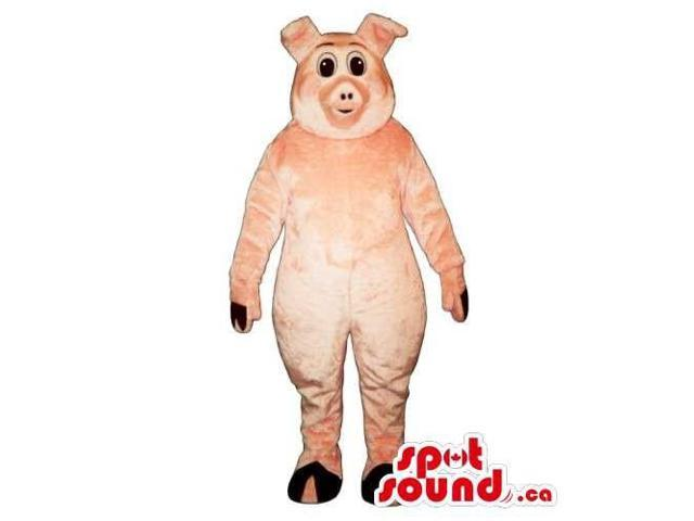 Customised And All Pig Canadian SpotSound Mascot With Small Round Black Eyes