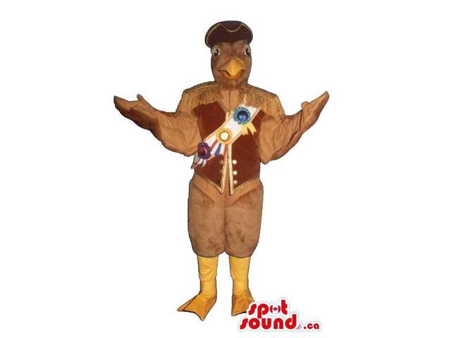 All Brown Eagle Bird Plush Canadian SpotSound Mascot With Award Medals