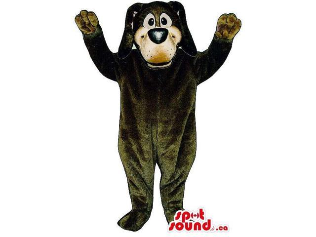 Customised Cute Dark Brown Dog Plush Canadian SpotSound Mascot With Long Ears