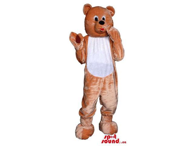 Customised Brown Teddy Bear Plush Canadian SpotSound Mascot With White Belly