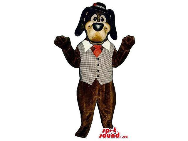 Dark Brown Dog Plush Canadian SpotSound Mascot Dressed In A Vest, Bow Tie And A Hat