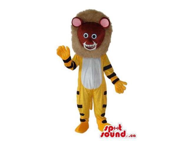 Yellow Lion Animal Plush Canadian SpotSound Mascot With A Tribal Mask