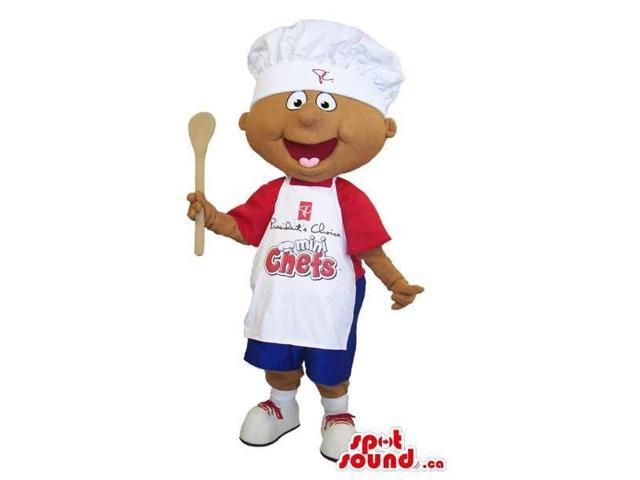 Boy Canadian SpotSound Mascot Dressed In A Red T-Shirt, Chef Hat And Apron With Text