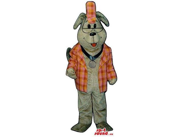 Cute Grey Dog Plush Canadian SpotSound Mascot Dressed In A Checked Jacket And A Medal
