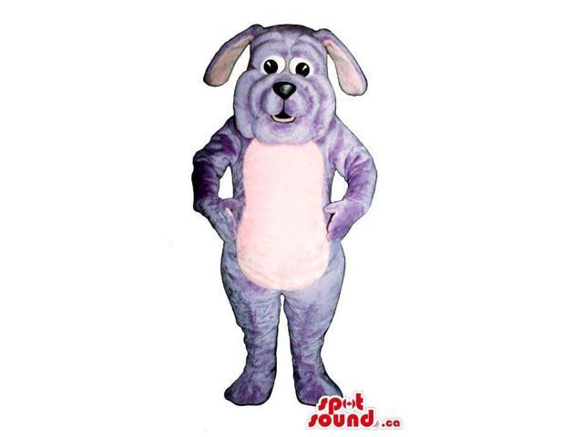Customised Cute Purple Dog Plush Canadian SpotSound Mascot With A Pink Bell