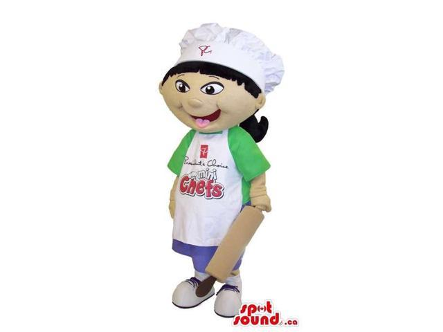Girl Canadian SpotSound Mascot Dressed In A Green T-Shirt And Apron With Text