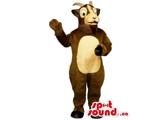Customised Peculiar Brown Goat Animal Canadian SpotSound Mascot With A Beige Belly