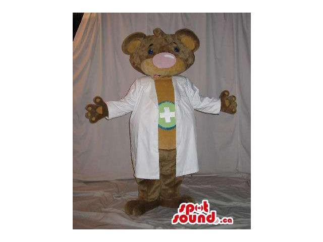 Brown Bear Plush Canadian SpotSound Mascot Dressed In Doctor Clothes With A Cross