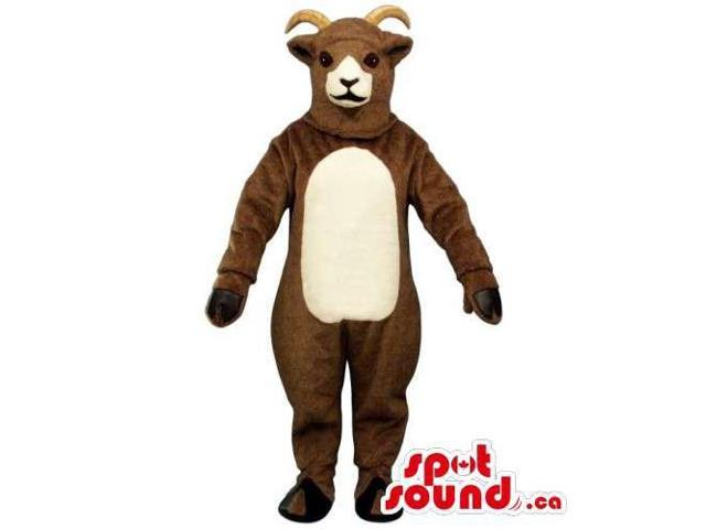 Customised Brown Goat Canadian SpotSound Mascot With A Beige Belly And Small Horns