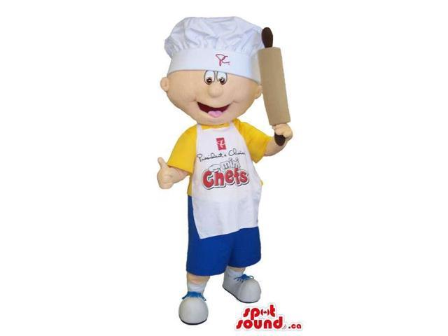 Boy Canadian SpotSound Mascot Dressed In A Yellow T-Shirt And Apron With Text
