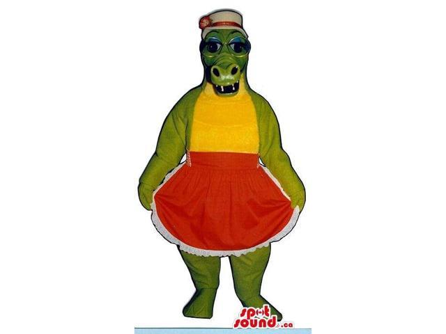 Green Lady Alligator Plush Canadian SpotSound Mascot Dressed In A Red Apron And A Hat