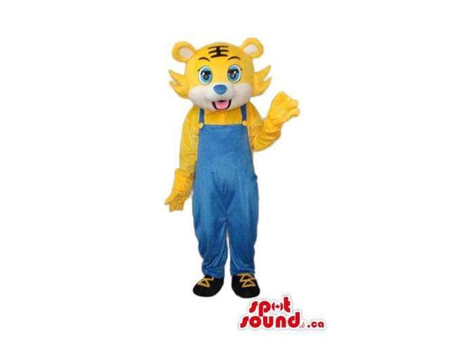 Young Yellow Lion Animal Plush Canadian SpotSound Mascot Dressed In Blue Overalls