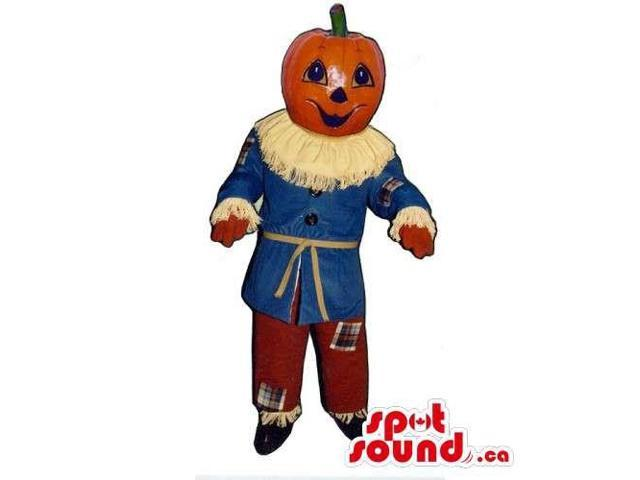 Customised Pumpkin Head Canadian SpotSound Mascot Dressed As A Scarecrow