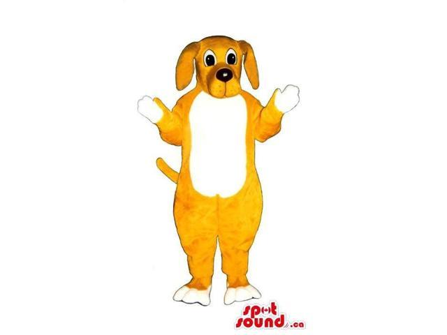 Customised Cute Yellow Dog Plush Canadian SpotSound Mascot With A White Belly