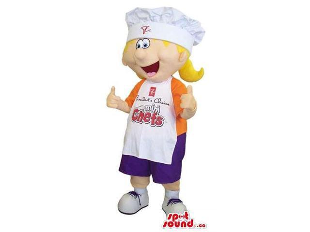 Girl Canadian SpotSound Mascot Dressed In An Orange T-Shirt And Apron With Text