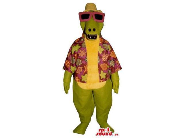 Green Alligator Canadian SpotSound Mascot Dressed In Sunglasses And Hawaiian Shirt