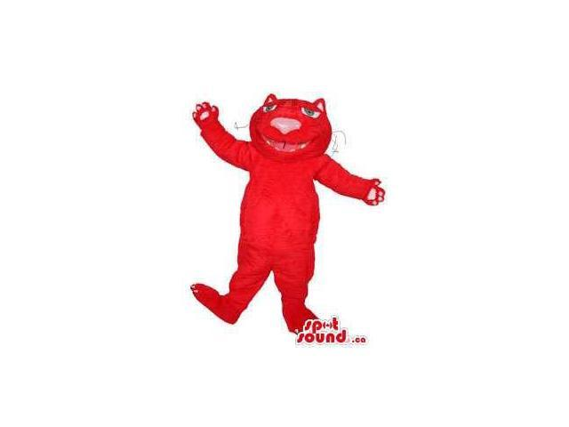 Flashy All Red Cat Pet Plush Canadian SpotSound Mascot With A Large Pink Nose
