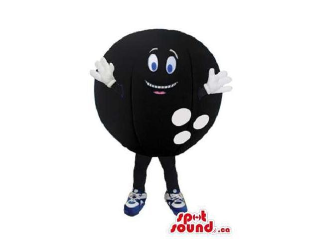 Peculiar Black Bowling Ball Canadian SpotSound Mascot With Blue Eyes And Space For Logo