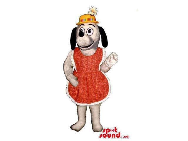 Cute White Dog Plush Canadian SpotSound Mascot Dressed In A Red Apron