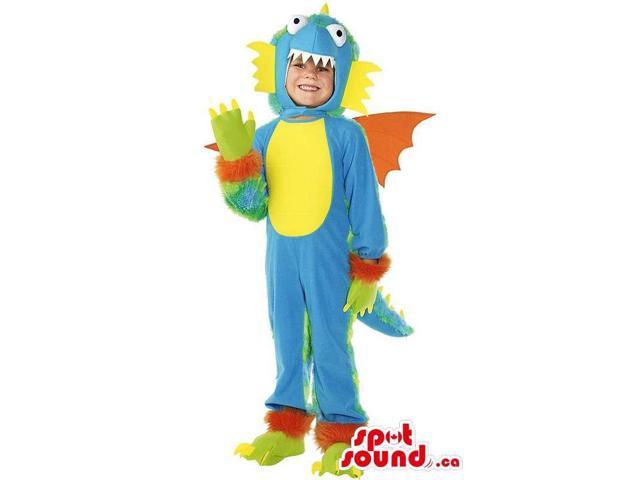 Blue And Yellow Dragon Character Children Size Costume