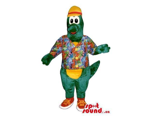 Green Alligator Canadian SpotSound Mascot Dressed In A Hawaiian Shirt And A Hat