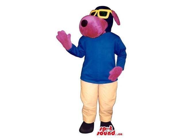 Cute Pink Dog Plush Canadian SpotSound Mascot Dressed In Yellow Sunglasses And Gear