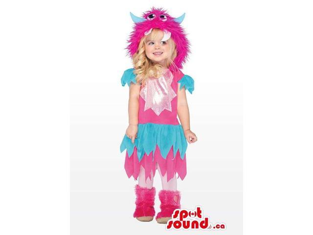 Woolly Blue And Pink Monster Girl Children Size Costume