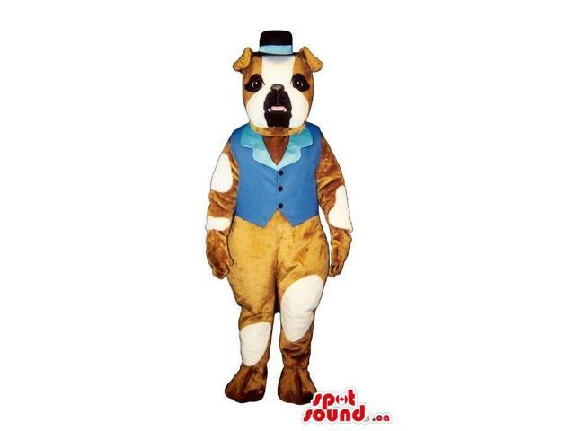 Cute Pit-Bull Dog Plush Canadian SpotSound Mascot Dressed In Blue Old-Times Gear
