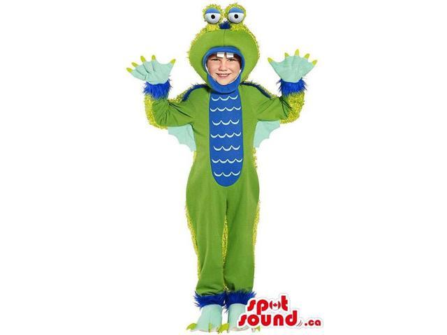 Blue And Green Dragon Character Children Size Costume
