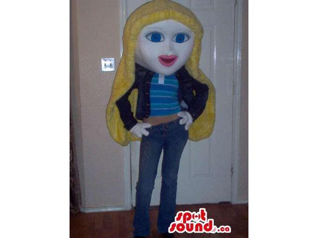 Blond Girl Character Canadian SpotSound Mascot Dressed In Casual Clothes