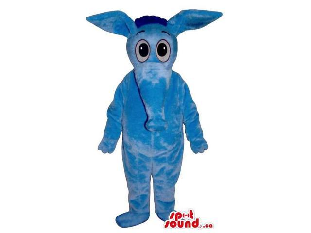 Cute All Blue Plush Anteater Canadian SpotSound Mascot With Cartoon Eyes