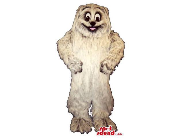 Customised Cute All White Long Hair Dog Plush Canadian SpotSound Mascot