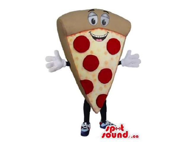 Pizza Slice Food Plush Canadian SpotSound Mascot With Pepperoni And A Peculiar Face