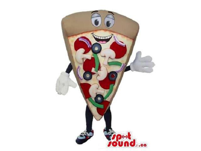 Pizza Slice Food Plush Canadian SpotSound Mascot With Mushroom And A Peculiar Face