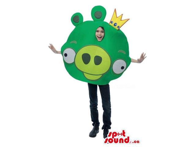 Cute Green Angry Birds Character Children Size Costume