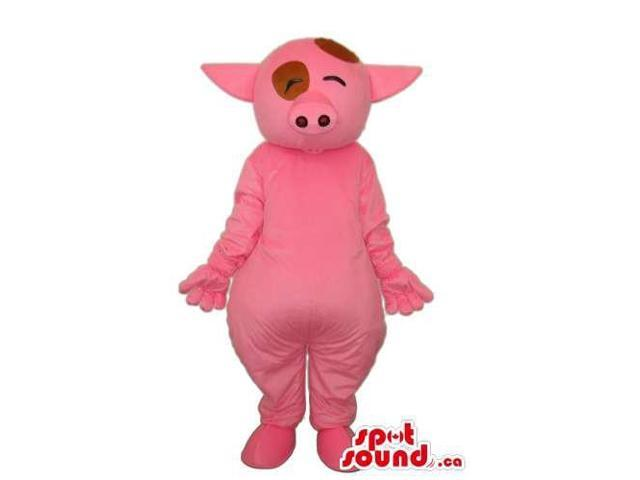 Pink Pig Animal Farm Plush Canadian SpotSound Mascot With Winking Eyes