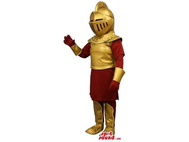 Great Medieval Soldier Human Canadian SpotSound Mascot In A Golden Armour